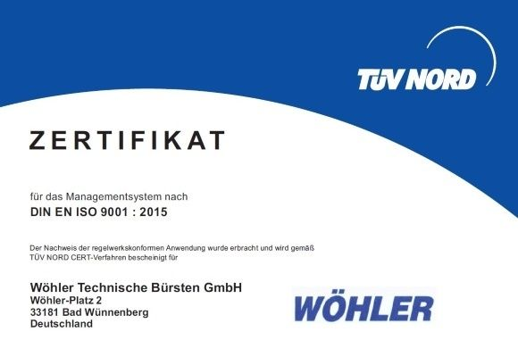 DIN ISO 9001 Certificate Woehler